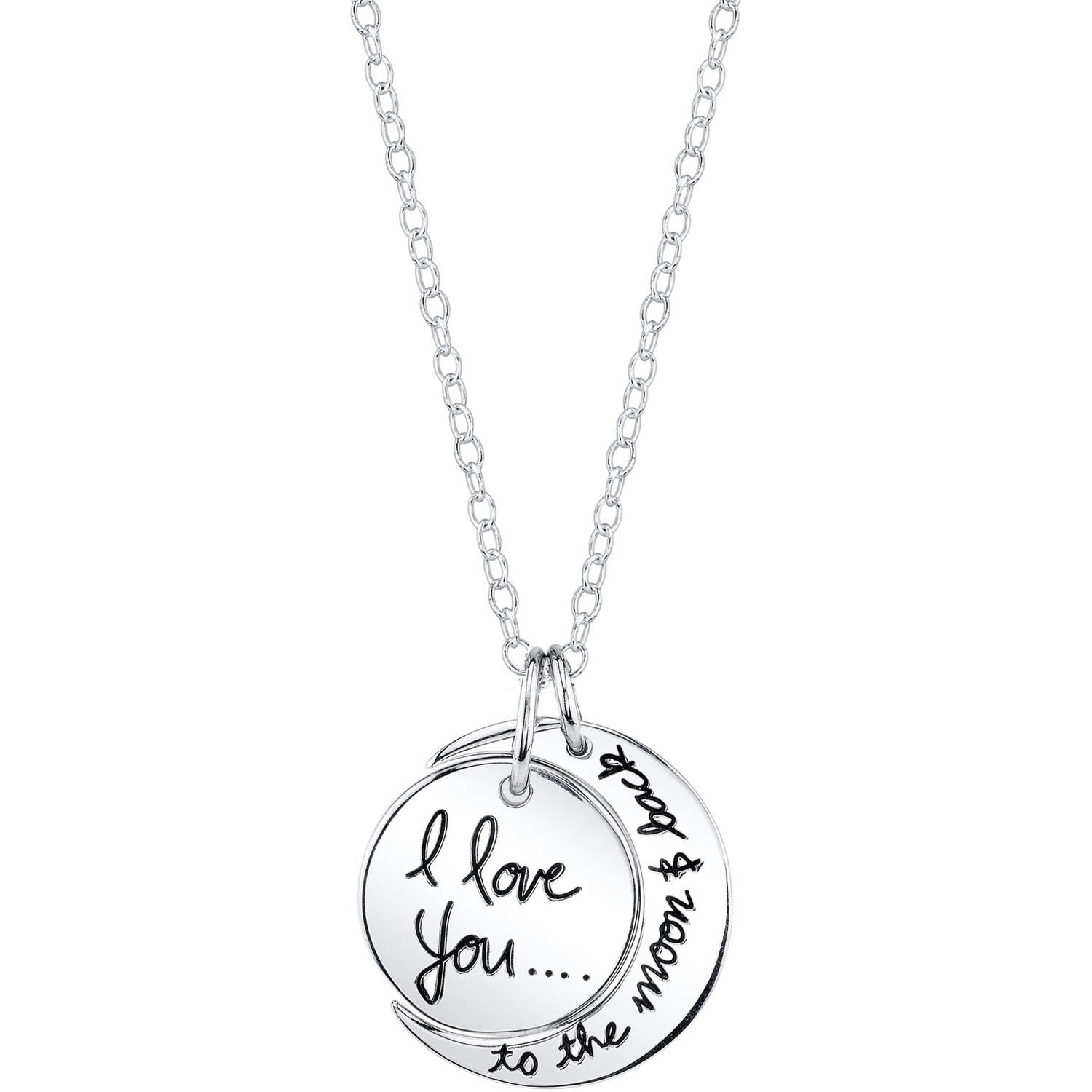 """A silver necklace with the text """"I love you to the moon and back"""""""