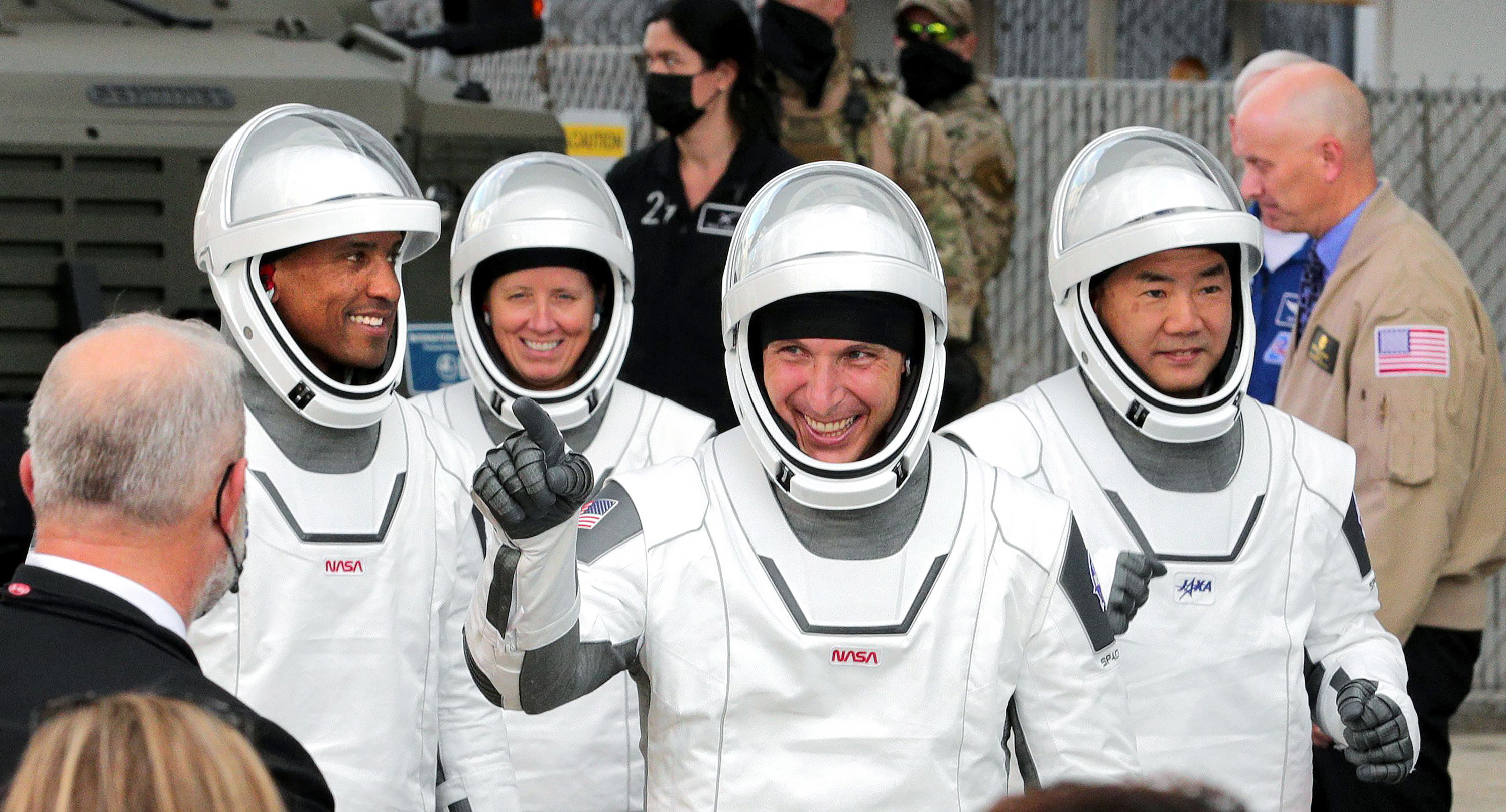 The astronauts of SpaceX Crew-1 head for complex 39-A for launch of the Falcon 9 rocket to the International Space Station