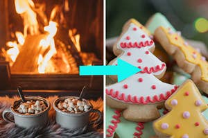 cocoa by the fireplace, sugar cookies