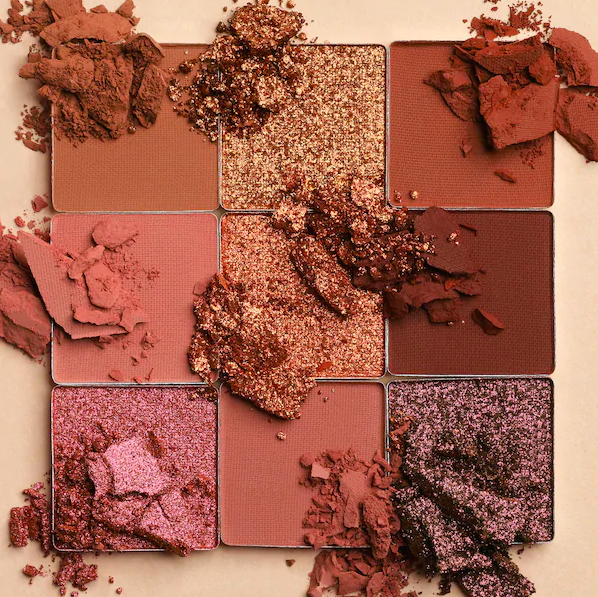 A closeup of the nine shadows in the palette
