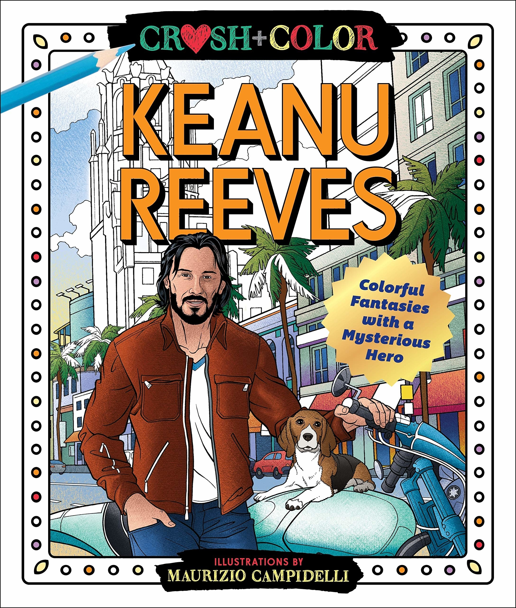 The cover of the book, featuring Keanu Reeves with a beagle