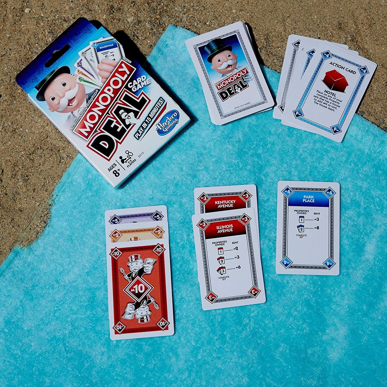 Several cards laid out on a beach towel