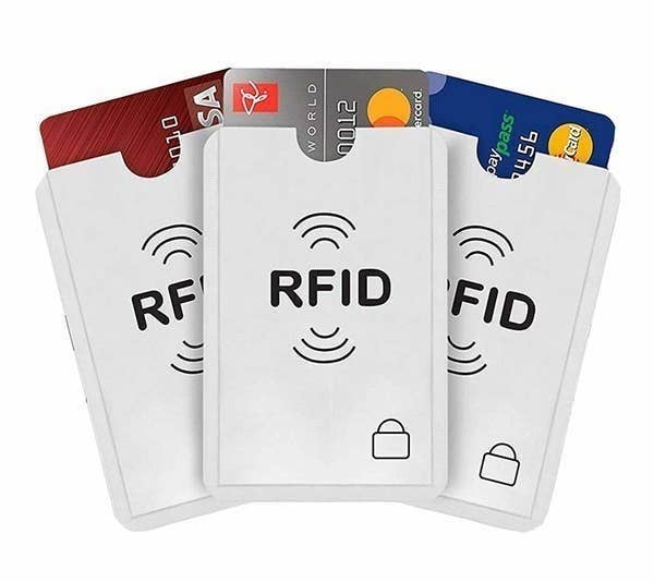 RFID sleeves pictured with credit/debit cards in it.