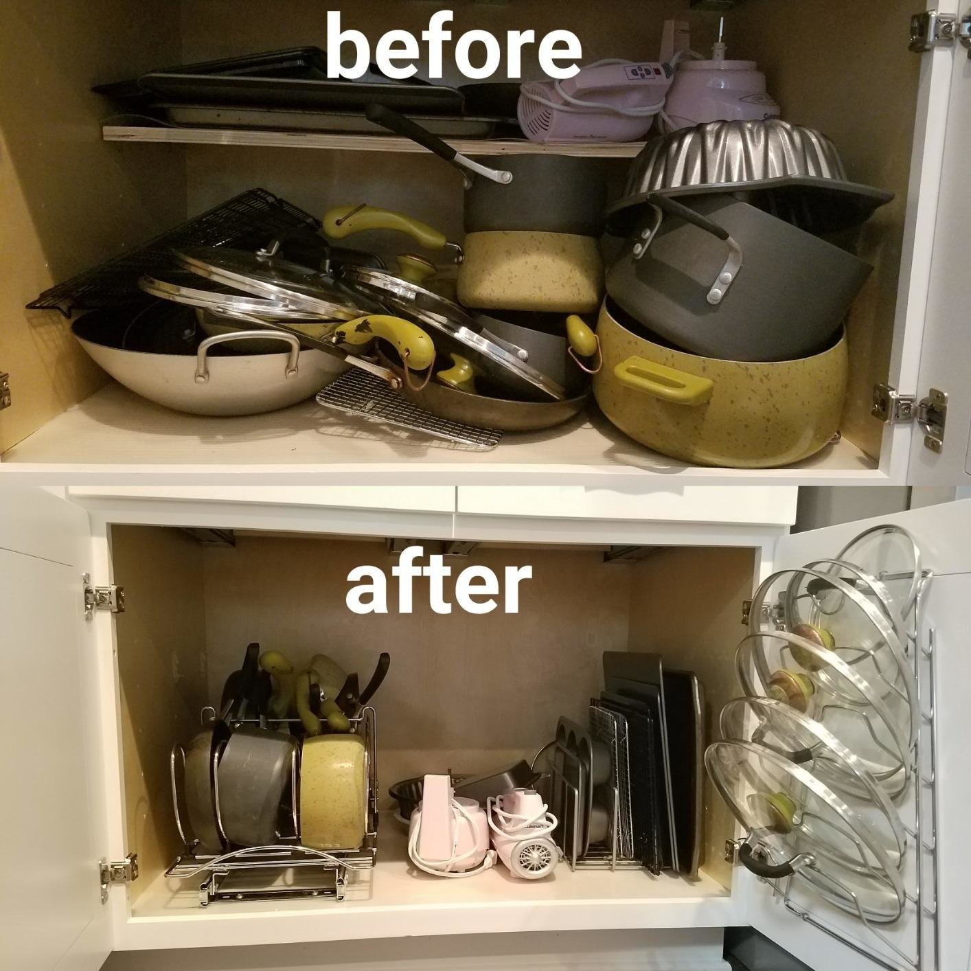 Reviewer image of cabinet cluttered in kitchen pots and pans and after with the organized shelves