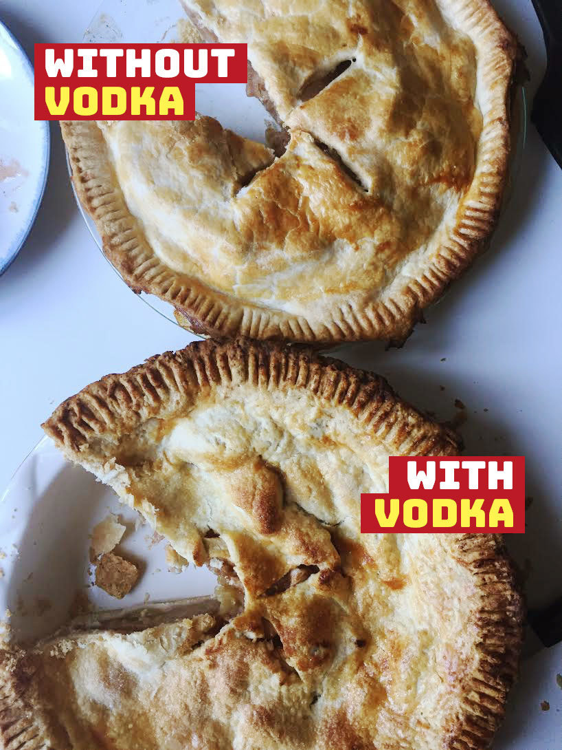 Pie crust with and without vodka