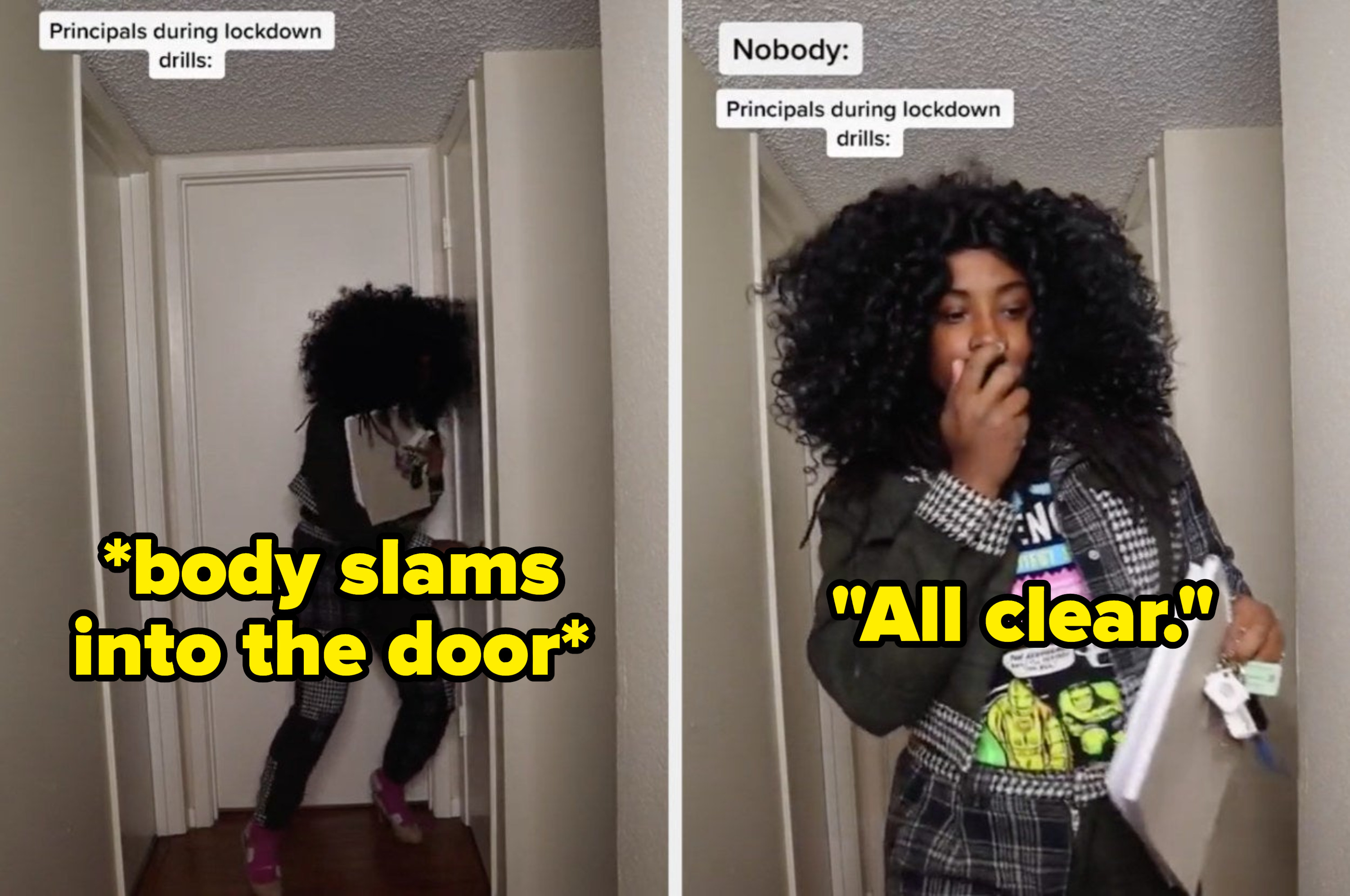 """A TikToker pretends to be a principal with the caption """"body slams into the door"""" then says """"All clear"""""""