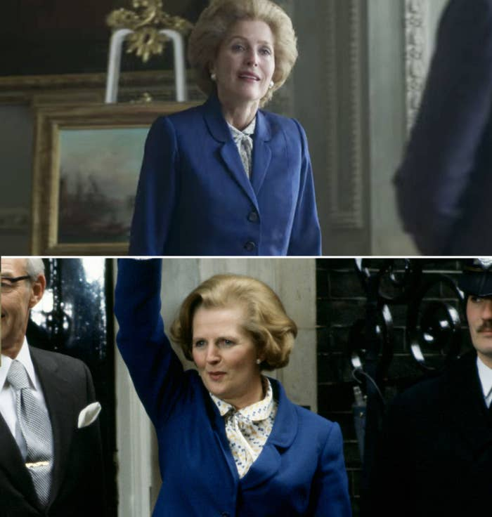 Gillian Anderson as Margaret Thatcher and the real Margaret Thatcher waving