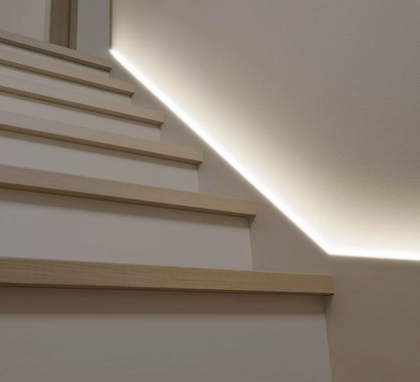 LED lights on the edge of stairs lit up