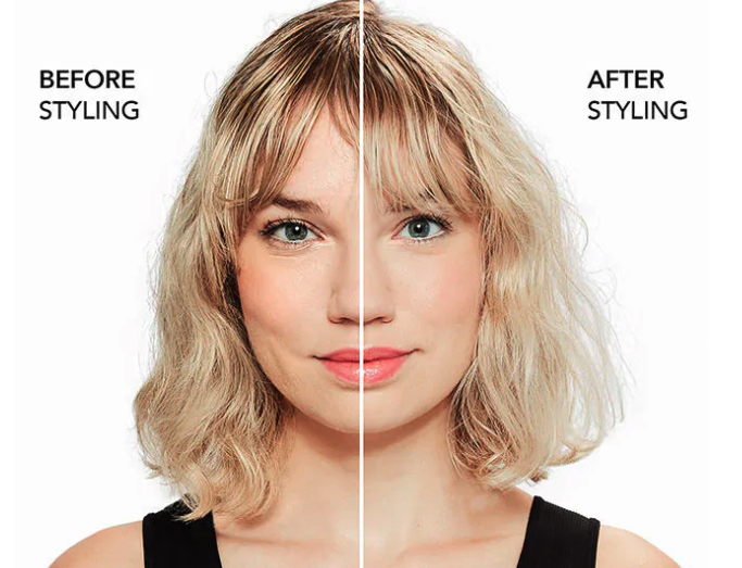 A before and after showing the model's hair is shinier and smoother after using the spray