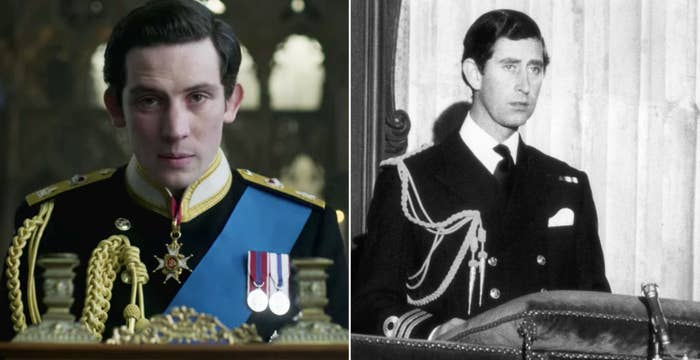 Josh O'Connor as Prince Charles on the left and the real Prince Charles on the right