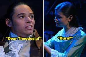 """Dear Theodosia?"" over Anthony Ramos and ""Burn?"" over Phillipa Soo"