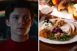 Spider-Man is on the left with a plate of Thanksgiving food on the right