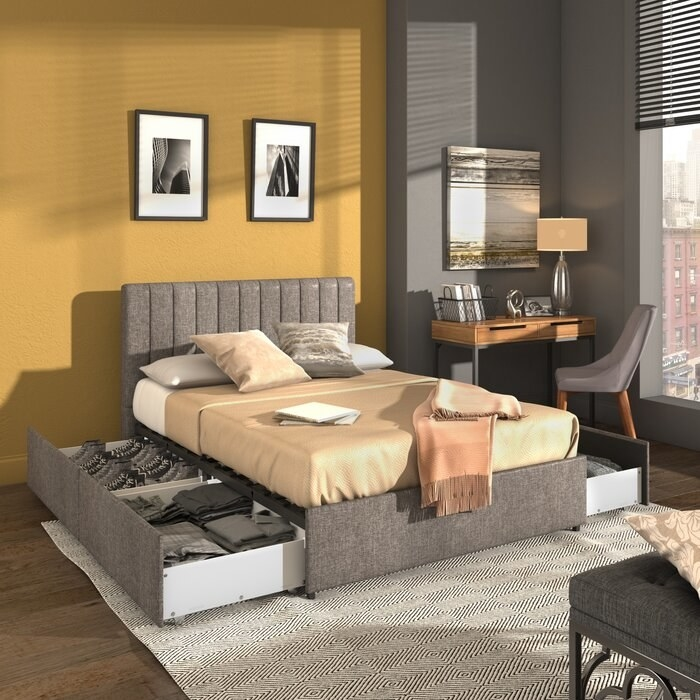 the latitude run gaylen platform storage bed in a decorated bedroom and storage units pulled out