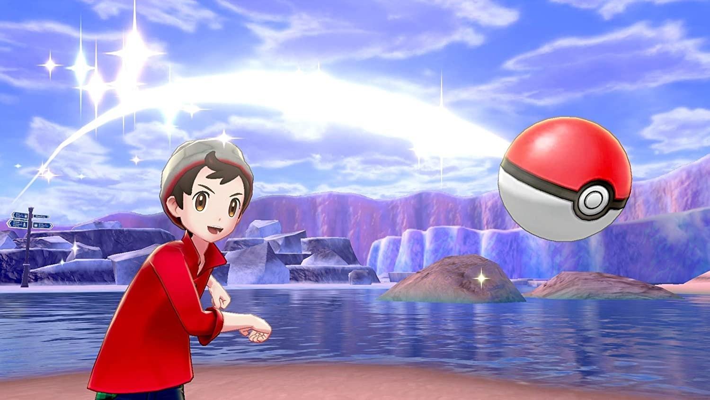 A pokémon trainer throwing a pokéball