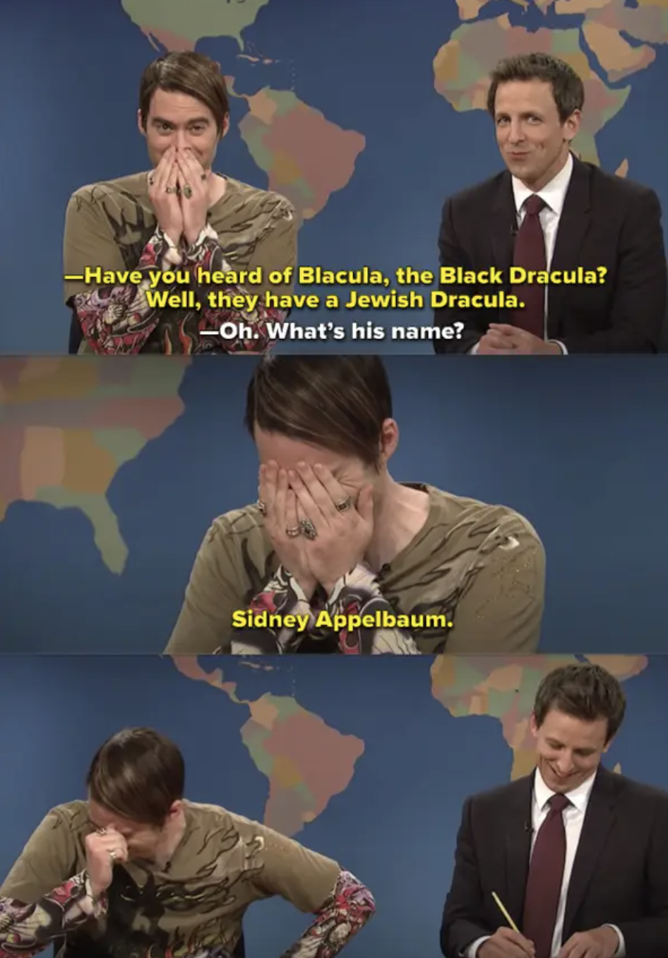 "Stefon and Seth Meyers cracking up during a ""Weekend Update"" sketch on ""SNL"""
