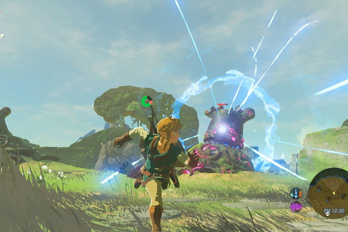 Link running for cover as a Guardian charges up its blast