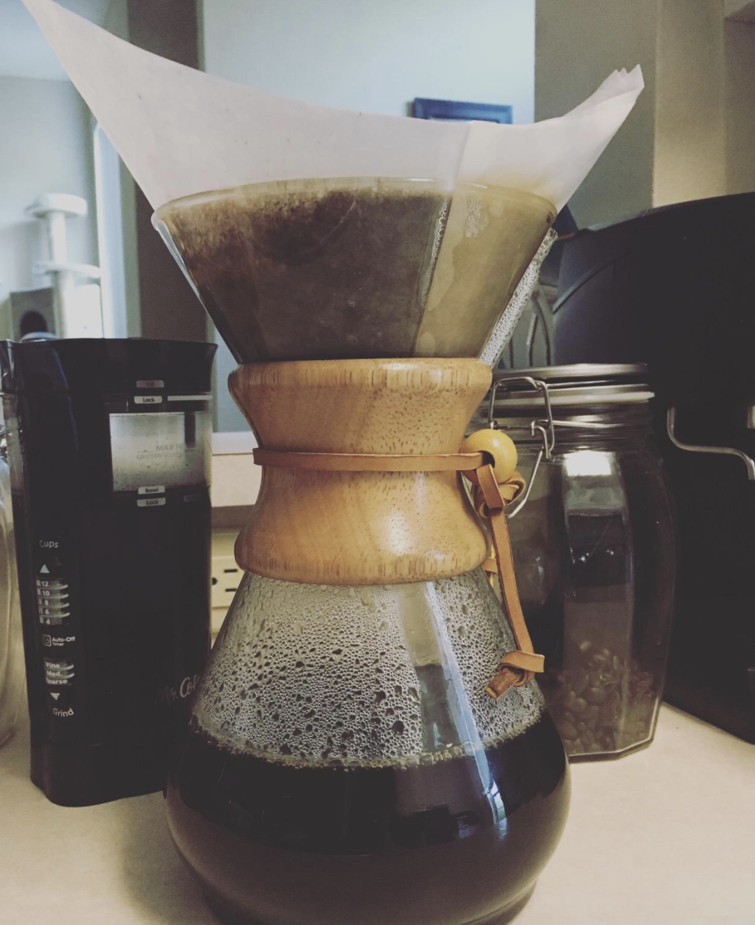a reviewer photo of the glass pour over coffee maker