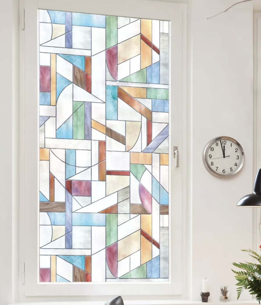 The stained glass film on a window in a living space