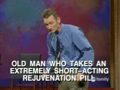 """Ryan hunched over with text reading, """"Old man who takes and extremely short-acting rejuvenation pill"""""""