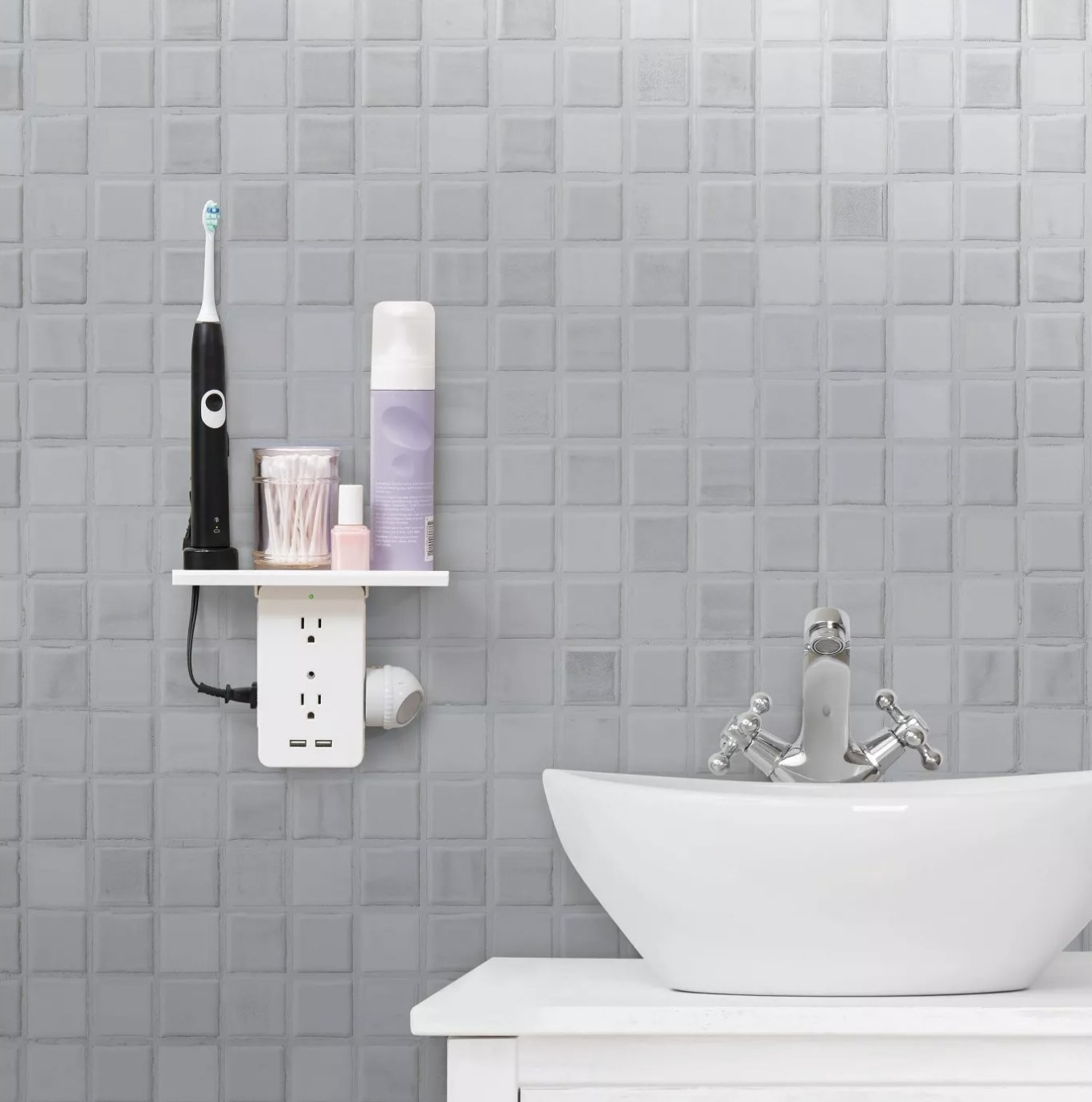 The outlet shelf in a bathroom