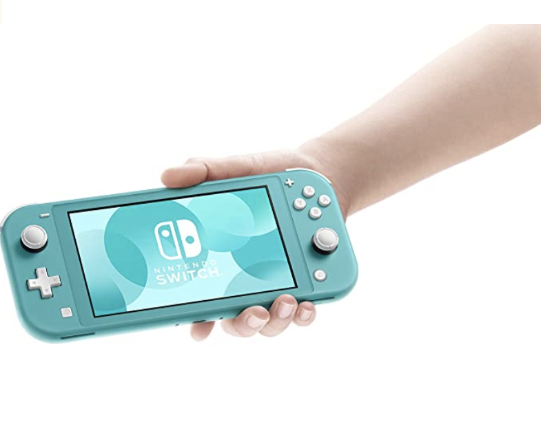 A turquoise handheld device with knobs and buttons and a large screen in someone's hand