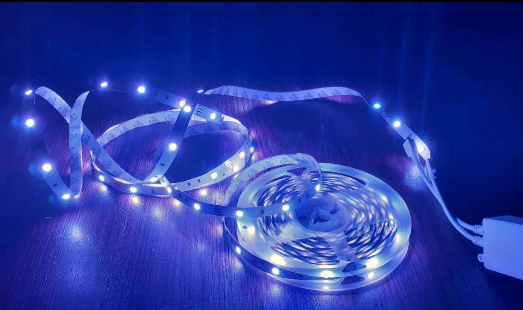 The blue LED lights