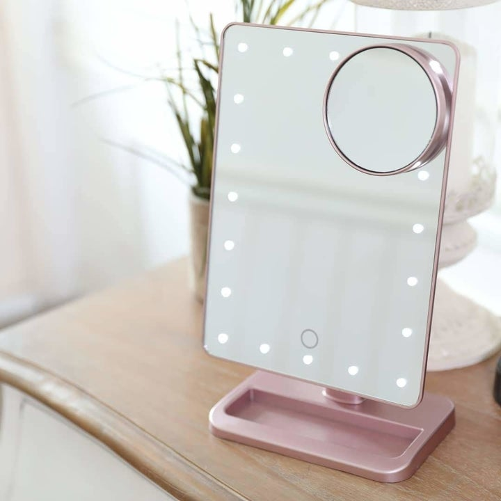 Lighted mirror on desk