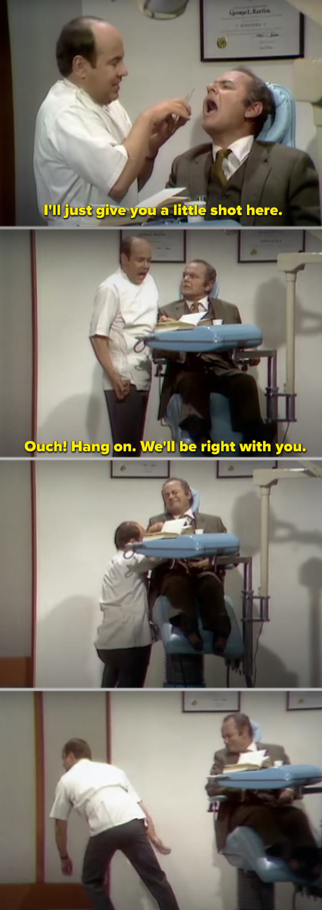Tim Conway as a dentist getting hit with the Novocaine needle, making his legs and arms go numb in front of a patient