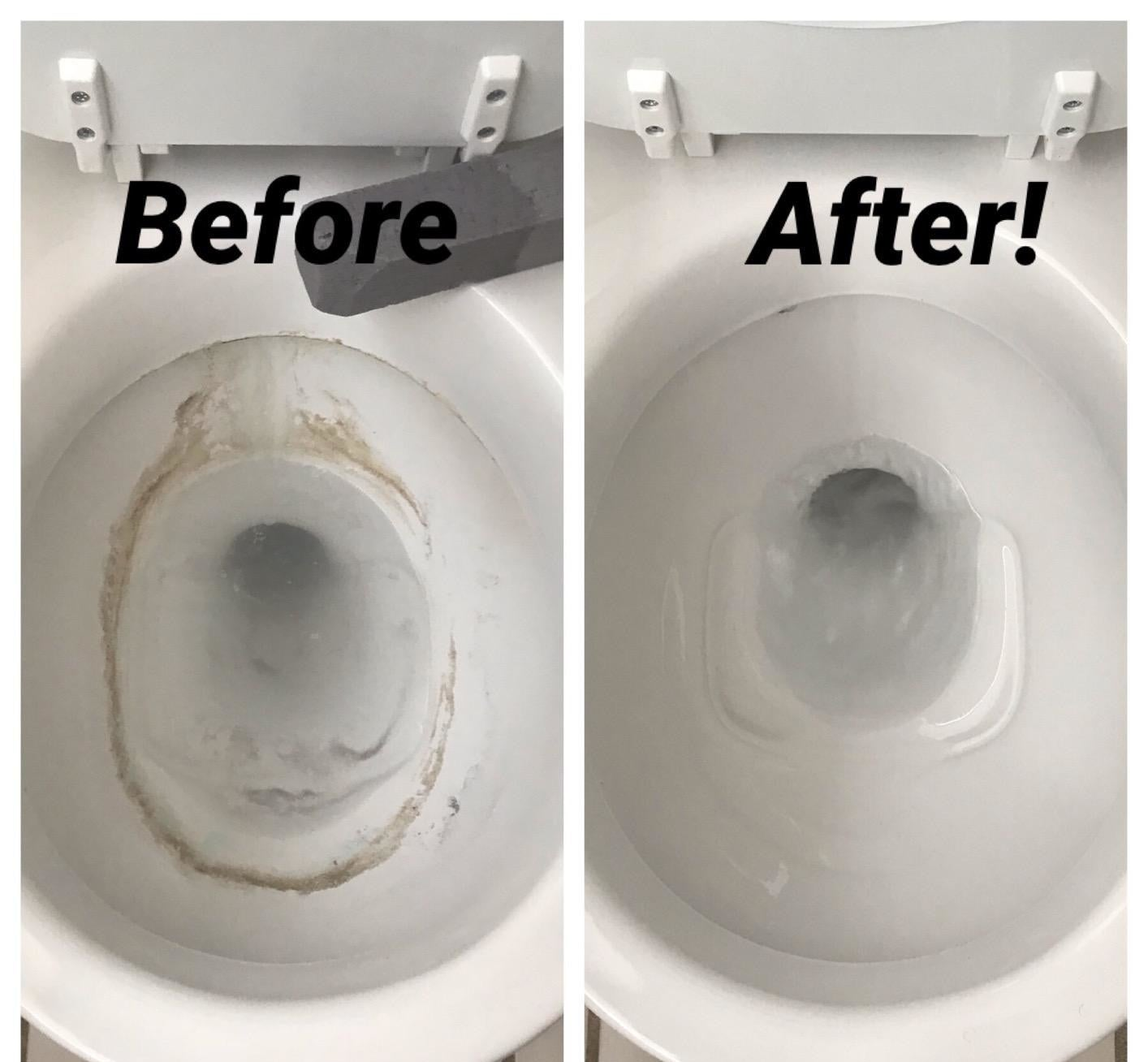 Before and after image of dirty stained toilet and completely clean toilet after using the pumice stone