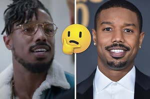 Michael B. Jordan is on the left wearing glasses and on the right in a tux with a think face emoji in the center