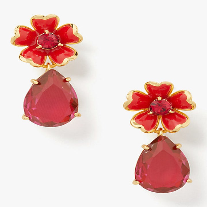 red flower earrings with gem teardrops