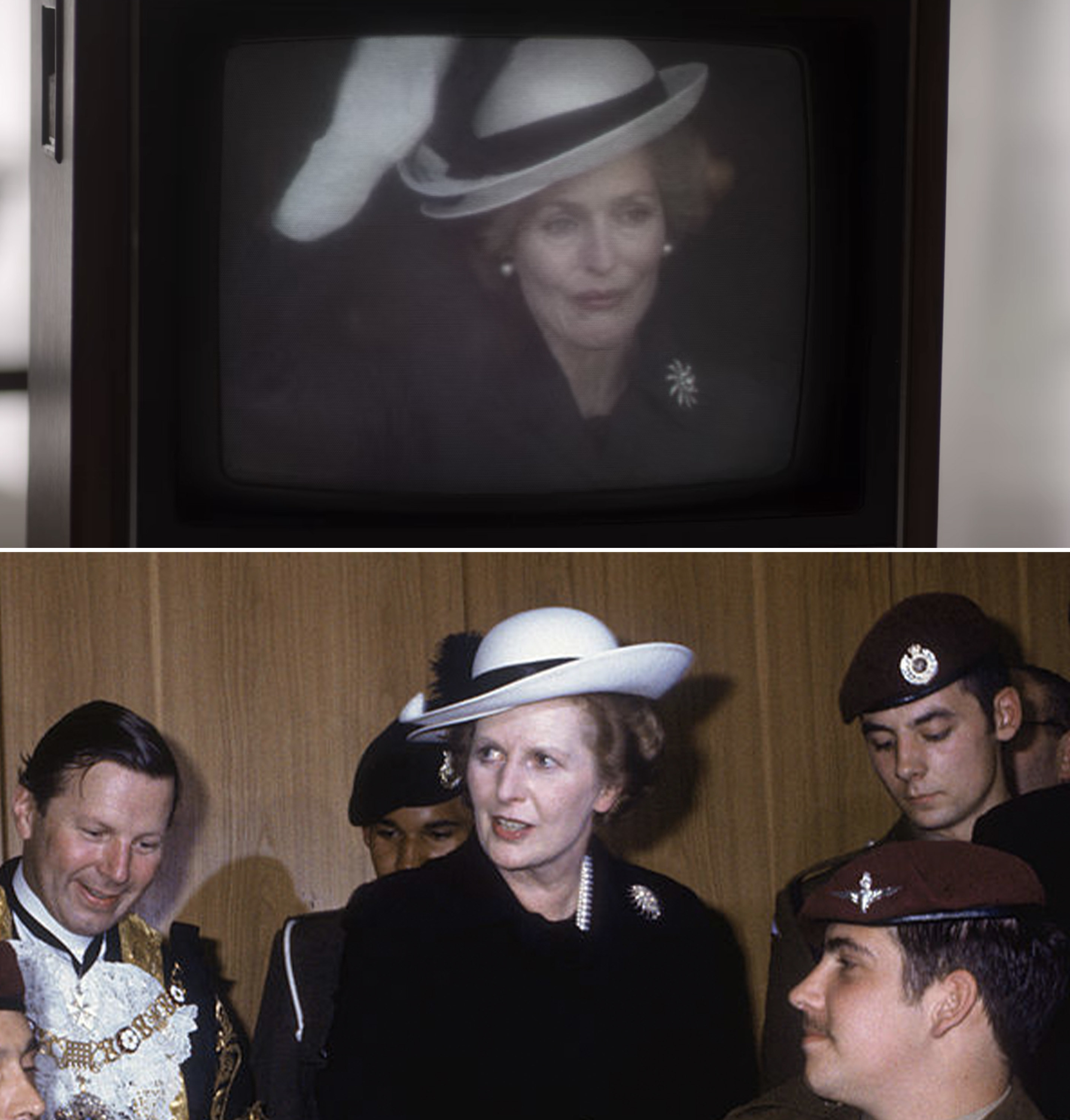 Margaret Thatcher in a tilted brimmed hat adorned with feathers