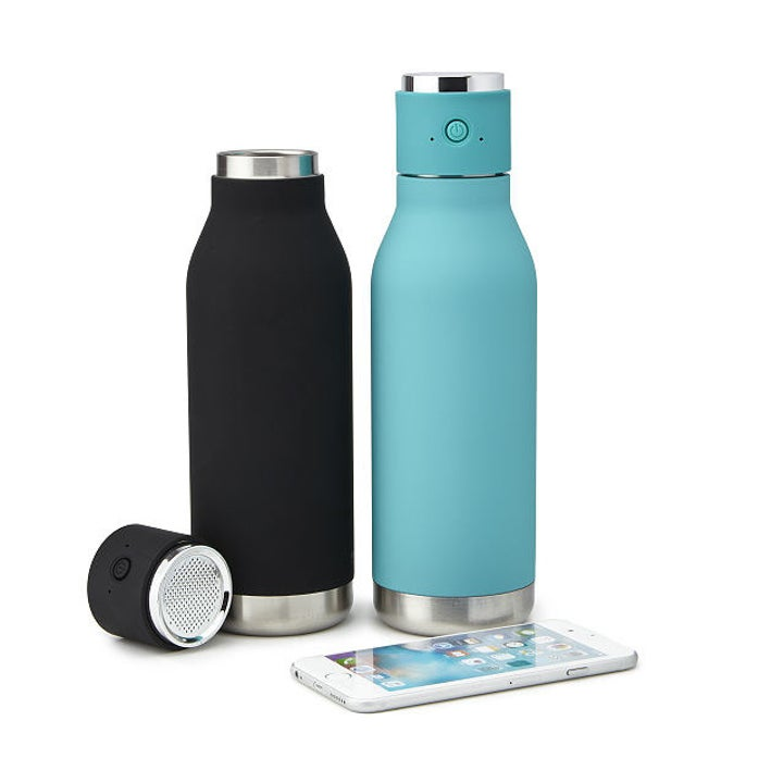 Black and teal Bluetooth water bottles next to smartphone
