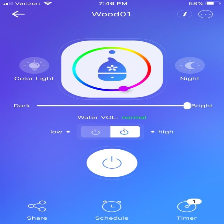 Screenshot of the diffuser's smartphone app