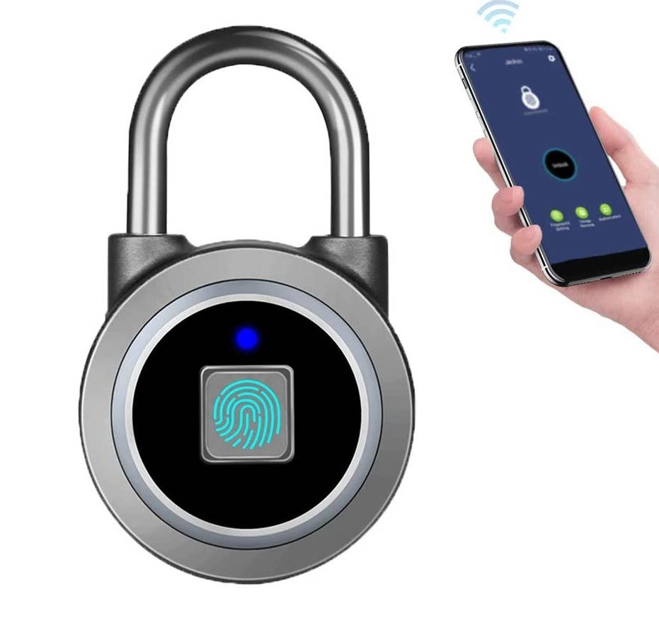 Product shot of fingerprint padlock next to model holding smartphone with accompanying app
