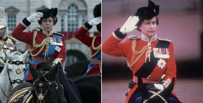 Olivia Colman as Queen Elizabeth and the real Queen Elizabeth salute troops while wearing military regalia on horseback