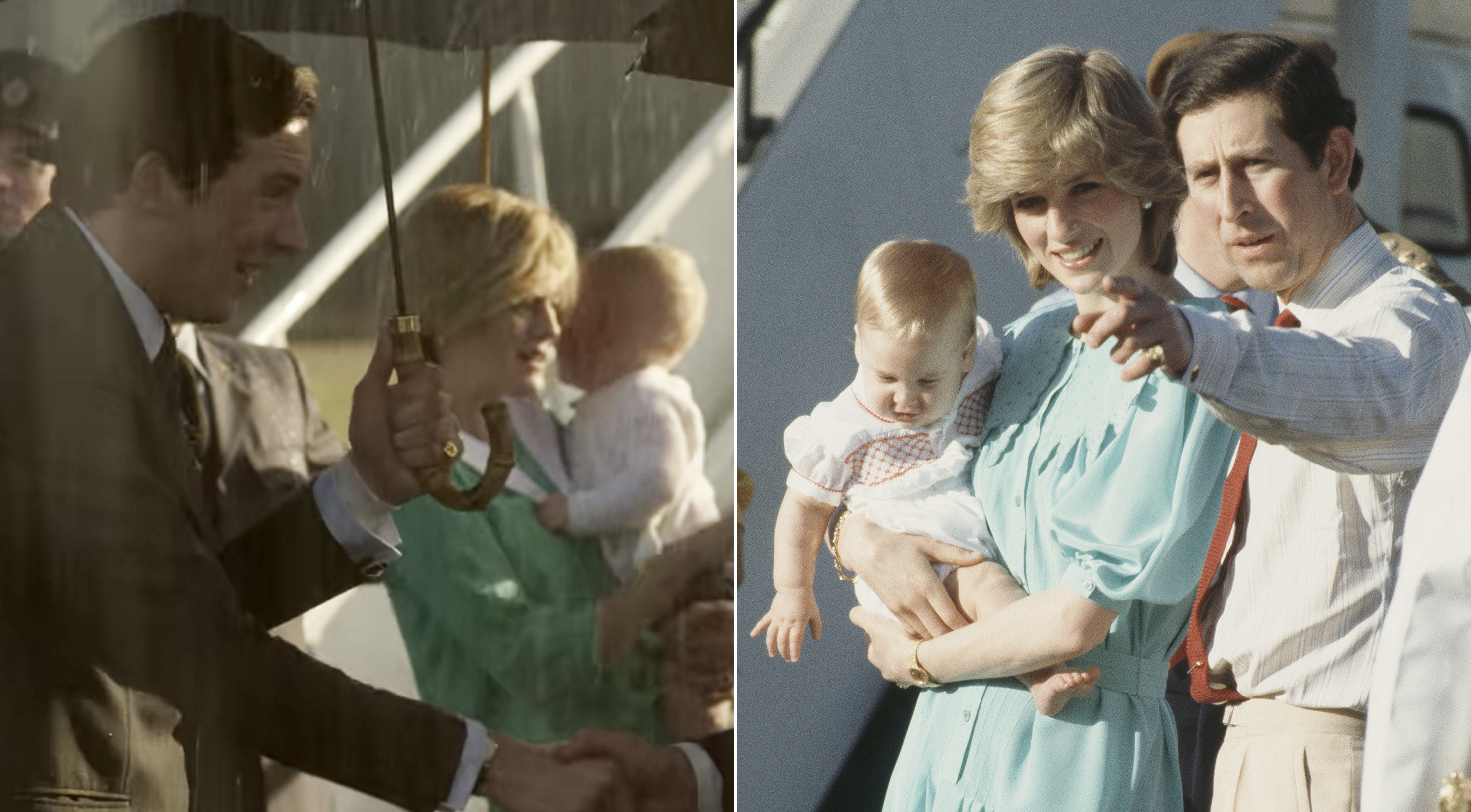 Princess Diana holding Prince William on the tarmac