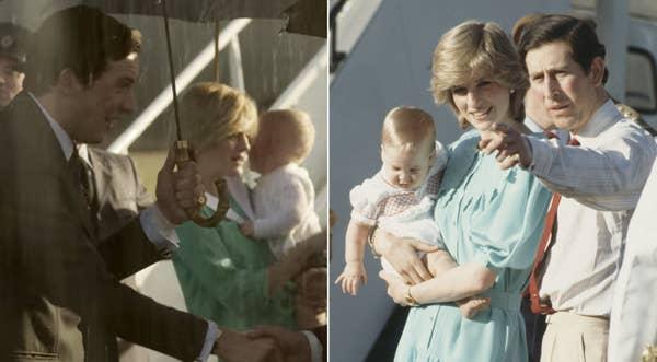 Princess Diana holding Prince William on the tarmac
