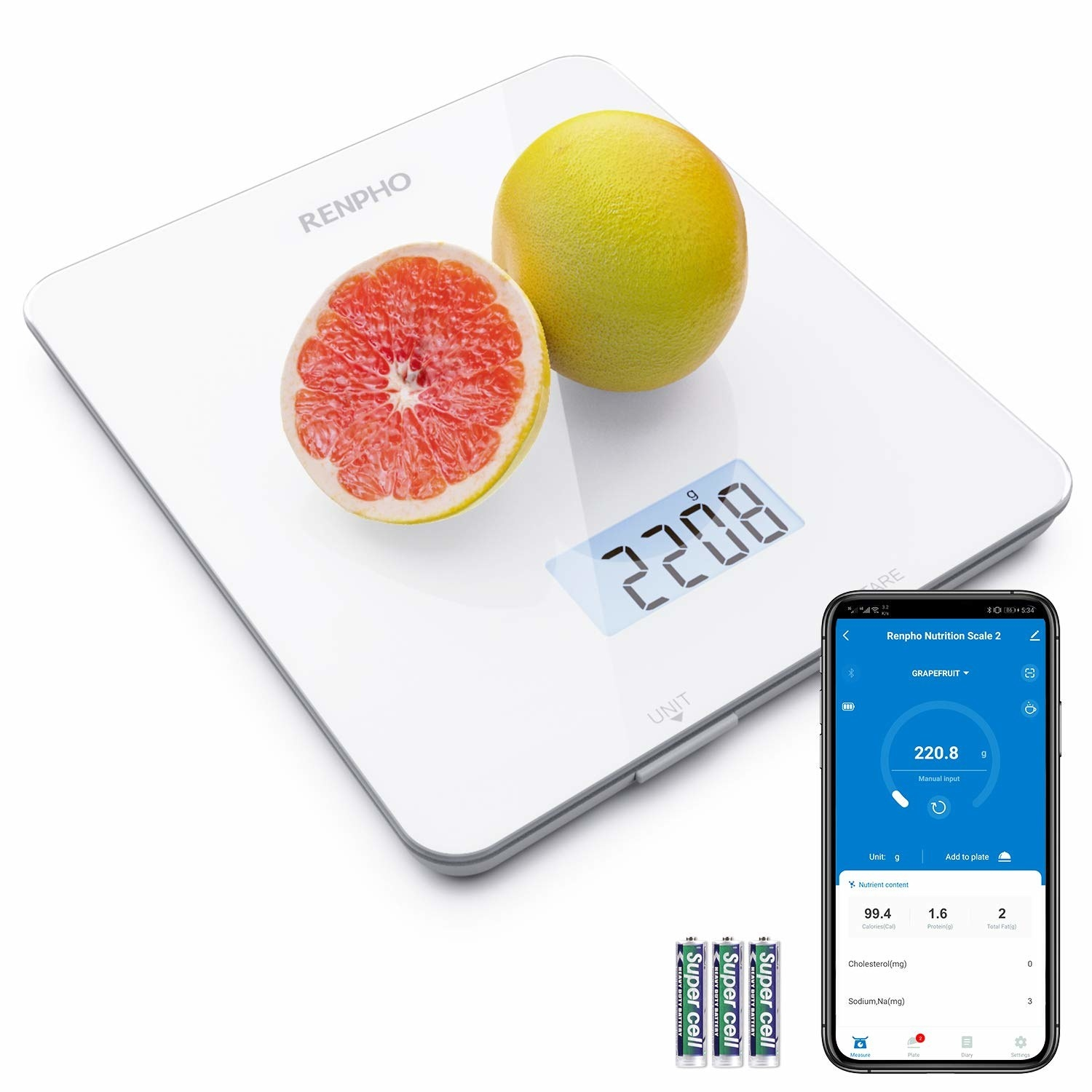 Smart scale with grapefruit on top next to smartphone with accompanying app and three batteries