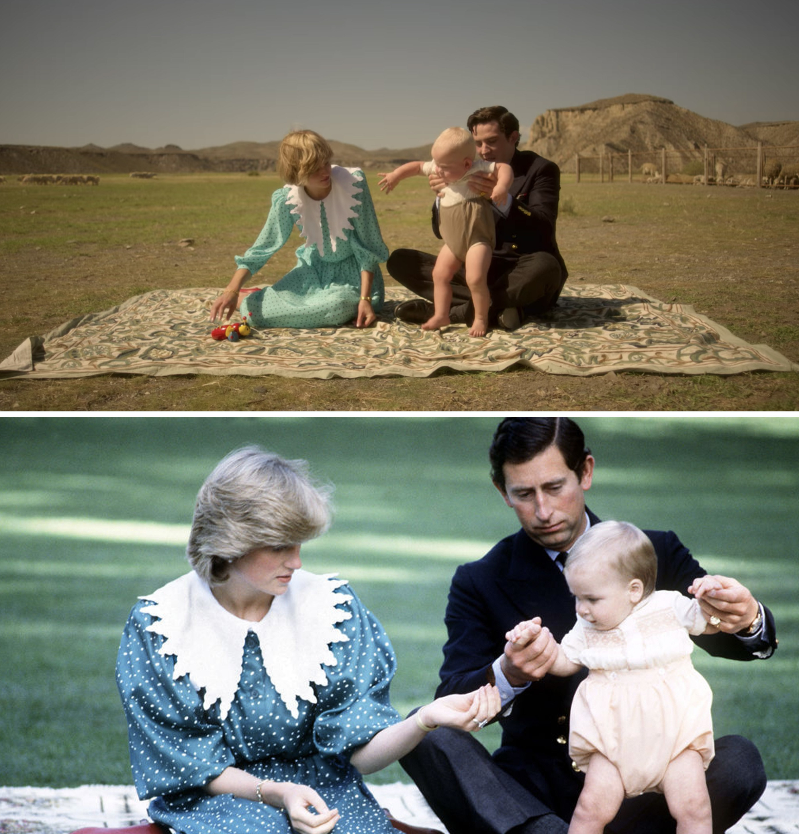 Prince Charles and Princess Diana sit on a blanket as they play with Prince William