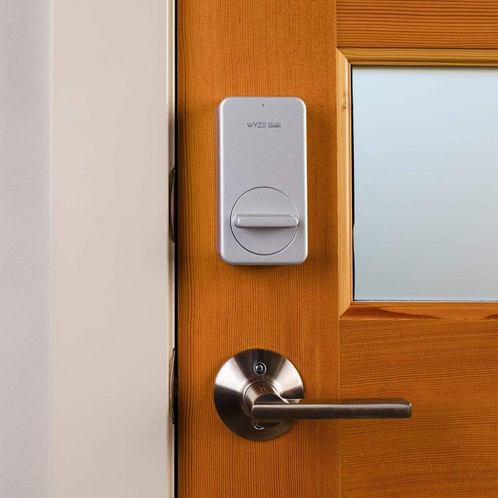 Smart lock installed on a door