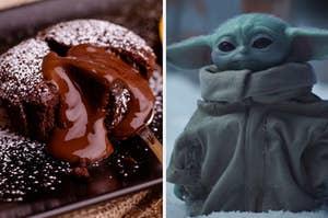 chocolate lava cake and Baby Yoda