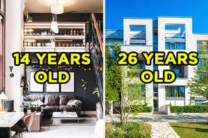 """On the left, a sunny apartment loft with twinkle lights all around it labeled """"14 years old,"""" and on the right, the exterior of a modern, boxy apartment building labeled """"26 years old"""""""