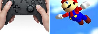A Nintendo Switch Pro Controller, and a Nintendo 64 era Mario flying in the sky