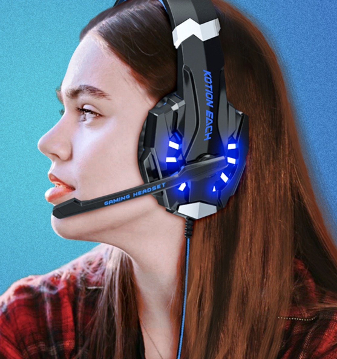 woman looking to the side with headset on