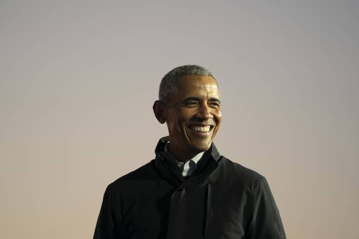 Former President Barack Obama speaks during a drive-in campaign rally with then-Democratic presidential nominee Joe Biden