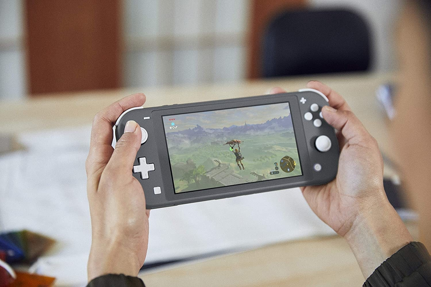 person playing Nintendo Switch Lite