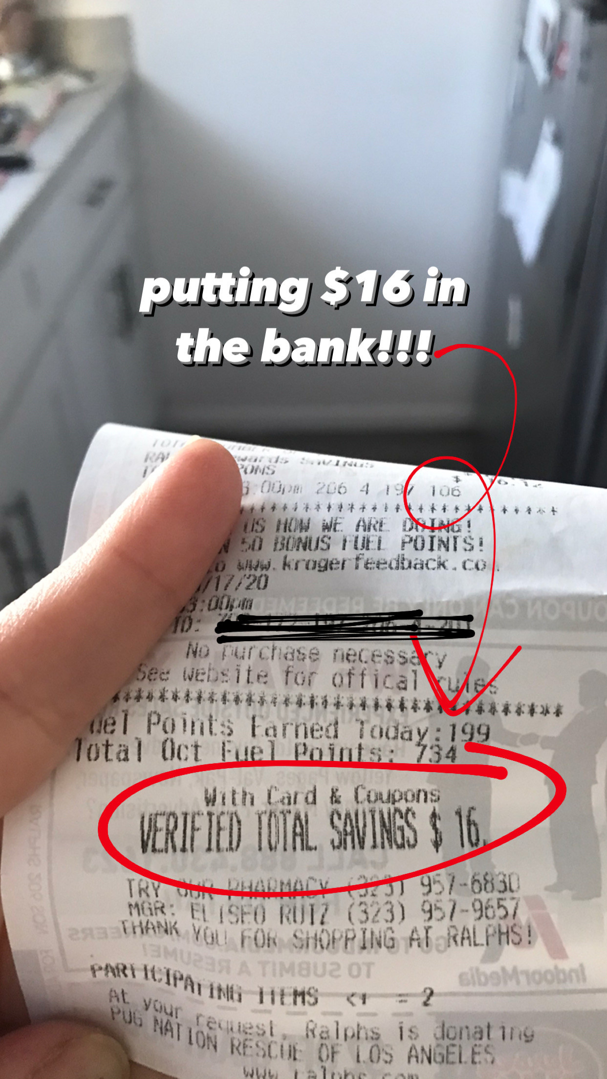 "A hand holds a receipt with ""total savings $16"" circled in red with overlaid text reading ""putting $16 in the bank!"""