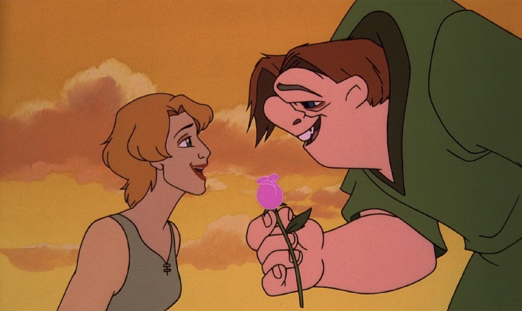 Quasimodo giving a rose to Madellaine