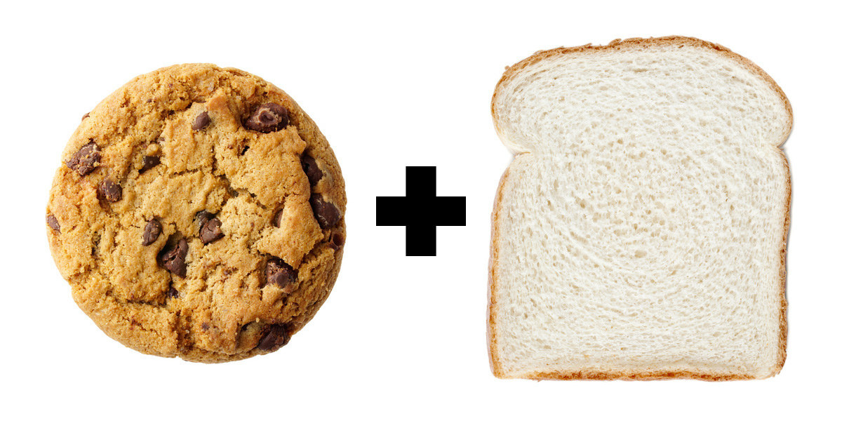 A chocolate chip cookie next to a slice of white bread